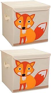 収納ボックス (2 個入り)、折り畳み式オーガナイザーキューブバスケットビン洗濯用、玩具、衣類、Dvd、書籍、食品、寝具、アート、クラフト-ベージュ