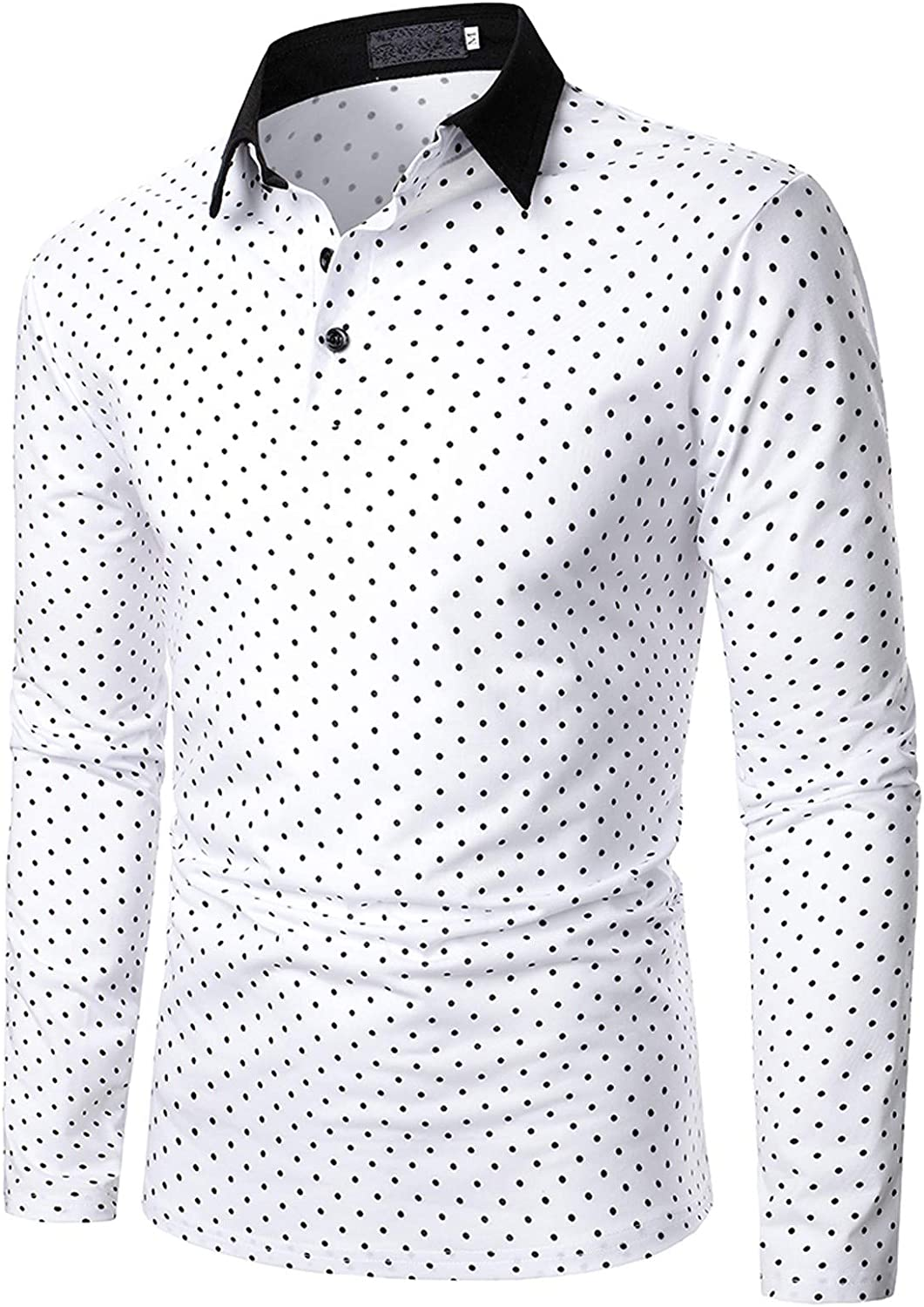 UBST Patchwork Polo Shirts for Mens, 2021 Fall Long Sleeve Zipper Button Turn-down Collar Business Casual Shirt Tops