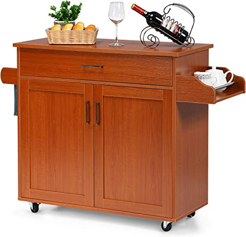 wholesale Giantex popular Kitchen Island, Rolling Kitchen Cart with Spice and Towel Rack, Large Drawer & 2-Door Storage Cabinet, Home Service wholesale Cart on Lockable Wheels, Wood Kitchen Trolley, Spacious Tabletop (Cherry) sale