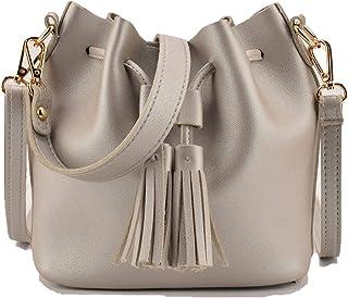 25cacb04bccc Vintage Fashion Small Women Leather Bucket Bag Handbag Tassel Drawstring Shoulder  Bag Messenger Purses