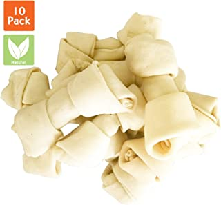 Pet Magasin Natural Premium Long-Lasting Rawhide Bones (Pack of 10) Heavy Chewing Dog Treats for Heavy Chewers Processed W...