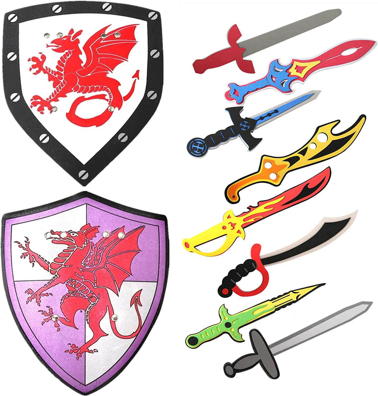 A886 Toy Plastic Sword and Shield Set Kids Medieval Viking History Book Week