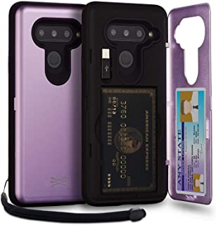 TORU CX PRO LG V40 ThinQ Wallet Case Purple with Hidden Credit Card Holder ID Slot Hard Cover, Strap, Mirror & USB Adapter...