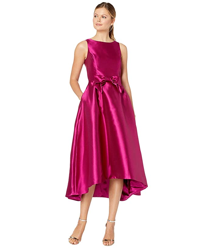 1960s Cocktail, Party, Prom, Evening Dresses Tahari by ASL Solid Mikado Bow Front Midi Dress Magenta Womens Dress $188.00 AT vintagedancer.com
