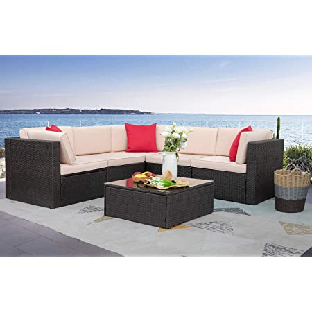 Homall 6 Pieces Furniture Outdoor Sectional Sofa All Weather PE Rattan Patio Conversation Set Manual Wicker Couch with Cushions and Glass Table, Beige