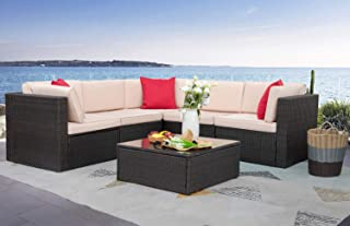 Homall 6 Pieces Patio Furniture Sets Outdoor Sectional Sofa All Weather PE Rattan Patio Conversation Set Manual Wicker Cou...