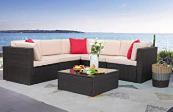 Homall 6 Pieces Furniture Outdoor Sectional Sofa All Weather PE Rattan Patio Conversation Set Manual Wicker Couch with Cus...