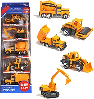 T.H. Conjunto de Cinco Mini Camiones de construcción Vehículos de Coches Juguetes de Metal Set para Niños 3 4 5 Años