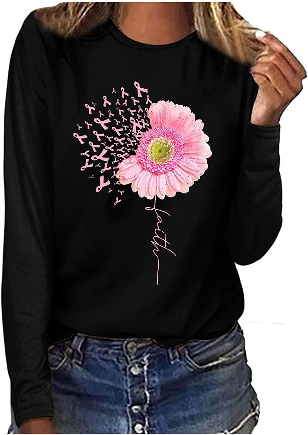 Womens Plus Size Tops Floral Print Solid Color Tee Shirts Crew Neck Sweatshirt Blouse Long-Sleeve Tunic