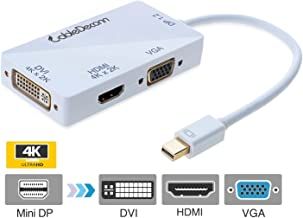 CableDeconn 3-in-1 Mini DisplayPort 1.2V to DVI VGA HDMI TV HDTV Adapter Converter HDMI Full 4k X 2k Resolution