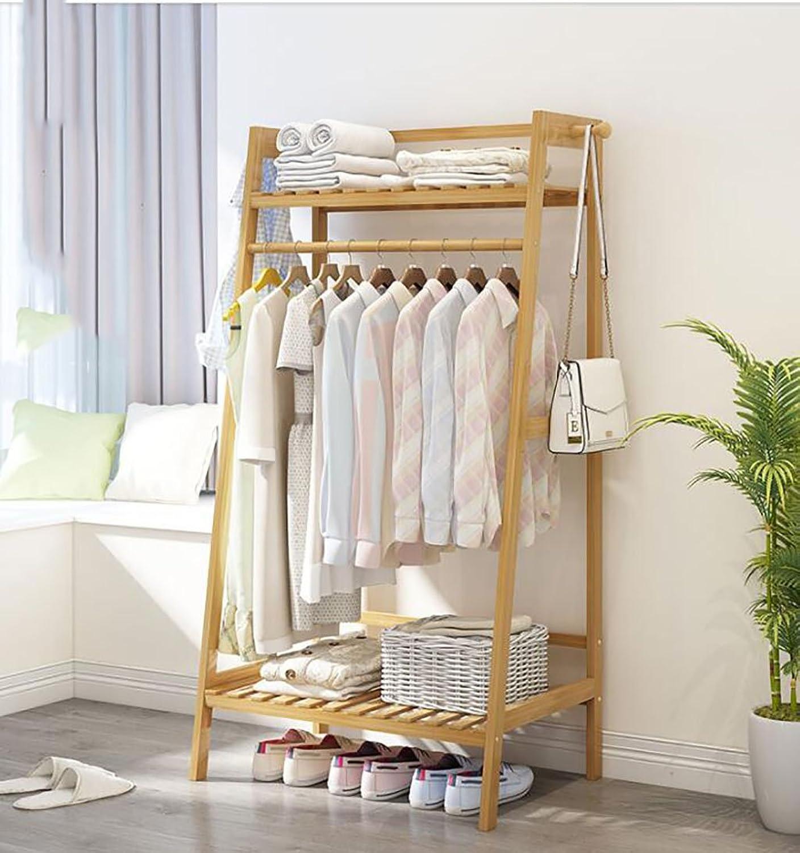 Simple Coat Rack Solid Wood Bedroom Hanger Floor Rack Storage Rack Simple Modern Clothes Rack Shelf (Size   140  70  40cm)