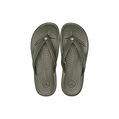 Crocs Crocband Flip (Army Green/White) Shoes