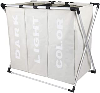 LETTON Laundry Hamper 3 Sections Fold Laundry Dirty Clothes BagStorage Baskets with Aluminum Frame for Bathroom Bedroom Home College Use Grey