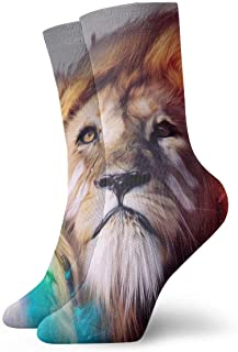 Luxury Calcetines de Deporte Colored Paint Lion Adult Short Socks Cotton Fun Socks for Mens Womens Yoga Hiking Cycling Running Soccer Sports