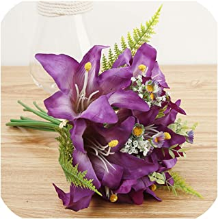 Simulation Lily Bouquet Artificial Flower Bouquet Holding Flowers Home Indoor Wedding Party Living Room Decoration Gift DIY,Deep Purple Bose Flo