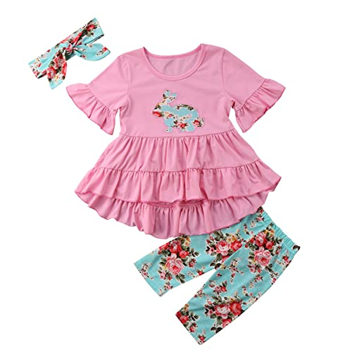 751cd9bd81e3d Toddler Baby Girl Outfit Floral Ruffles Tunic Dress Leggings Headband  Clothes Set