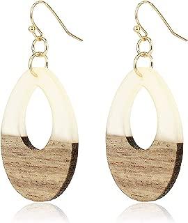 Lightweight Geometric Colored Resin Wood Dangle Drop Earrings for Women