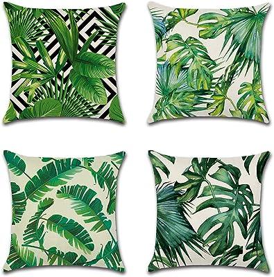 Tropical plante verte feuilles fleur Housse de coussin taie d/'oreiller canapé taille decor