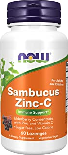 NOW Foods NOW Supplements, Sambucus Zinc-C with Elderberry Concentrate and Vitamin C, 60-Lozenges