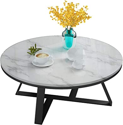 Round Side Table, Home Living Room Coffee Table Storage, White Marble and Black Metal, 60/70/80cm