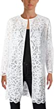 Lauren Ralph Lauren Womens Petites Lace Open Front Duster Top White PL
