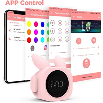 VOBOT Bunny Toddlers Smart Sleep Trainer with Alexa, Kids Wake Up Alarm Clock Sleep Sounds Machine and Children's Night Light Customizable Sleep Training by App