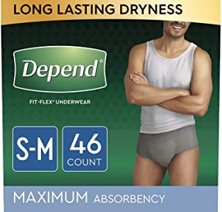 Depend FIT-FLEX Incontinence Underwear for Men, Maximum Absorbency, Disposable, Small/Medium, Grey, 46 Count