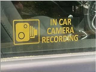 5 x Orange In Car Camera Recording Warning Window Stickers