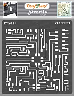 CrafTreat Mixed Media Stencils for Painting on Wood - Circuit Board Stencil Texture - 6x6 Inches -Circuit Stencil Pattern...