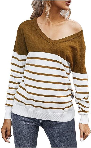 SHOBDW Separación 2020 Moda Mujer Camiseta Manga Larga Labor De Retazos Blusa Tops Cuello Redondo Suelto Primavera Y Verano Ropa Camiseta Talla Grande ...