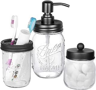Mason Jar Bathroom Accessories Set - Includes Mason Jar Hand Soap Dispenser, Toothbrush Holder and Qtip Holder - Rustic Farmhouse Decor Apothecary Jars Countertop and Vanity Organizer