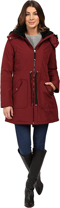 Quilted Fill Puffer w/ Drawstrings Hood and Removable Faux Fur