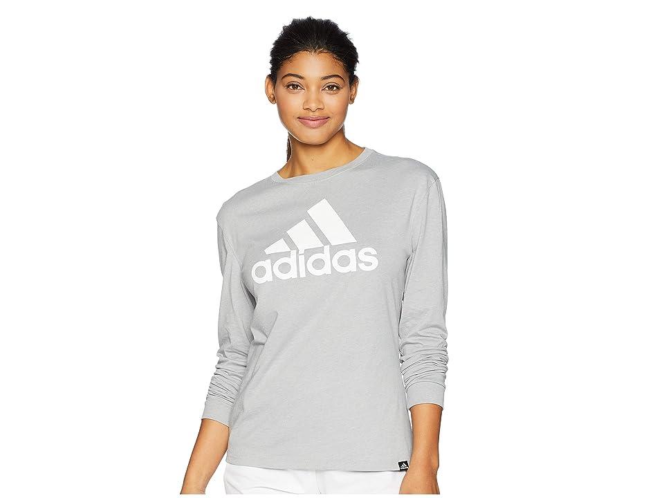 adidas Badge of Sport Long Sleeve T-Shirt (Medium Grey Heather) Women