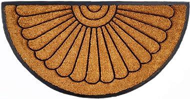AUSSBOND ARM5726 Thick Sunrays Coir and Rubber Non-Slip Door Mat, 99 cm X 60 cm, Natural/Black