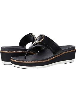 콜한 샌들 Cole Haan Originalgrand Flatform Thong Sandal,Black Leather/Nylon Wedge