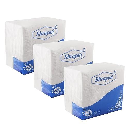 Shrayati Soft Tissue Paper Napkins | 50 Serviettes Per Box - Pack of 3 Boxes (White)