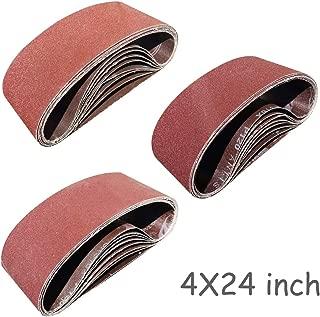 Sackorange 24 PCS 4 inch x 24 inch Sanding Belts - 8 Each of 80 120 150 Grit Aluminum Oxide Sanding Belts For Belt sander (4x24in)