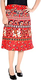 Women's Cotton Printed Knee Length Regular Wrap Around Skirt (F_W24NTR_0004-XL; Red; X-Large)