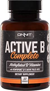 Onnit Active B Complete: Methylated B Vitamin Supplement with Folic Acid and Benfotiamine (30ct). Vitamins B1, B2, B5, B6, B12 in Easy to Take Capsules