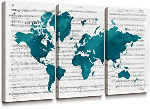 SUMGAR Large Wall Art Living Room World Map Canvas Paintings 3 Piece Blue Teal Pictures Music Artwork Prints Set,16x32 inch