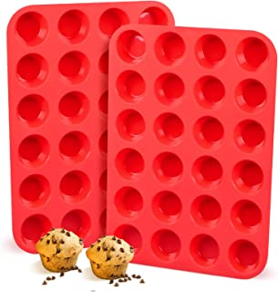 Silicone Muffin Pan, Mini 24-Cup Cupcake Pan LFGB, for Muffin, Mini Quiche, Keto Fat Bombs, Cupcakes, 100% Food Grade Sili...