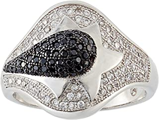 Aurora Women's Silver Black and White Ring