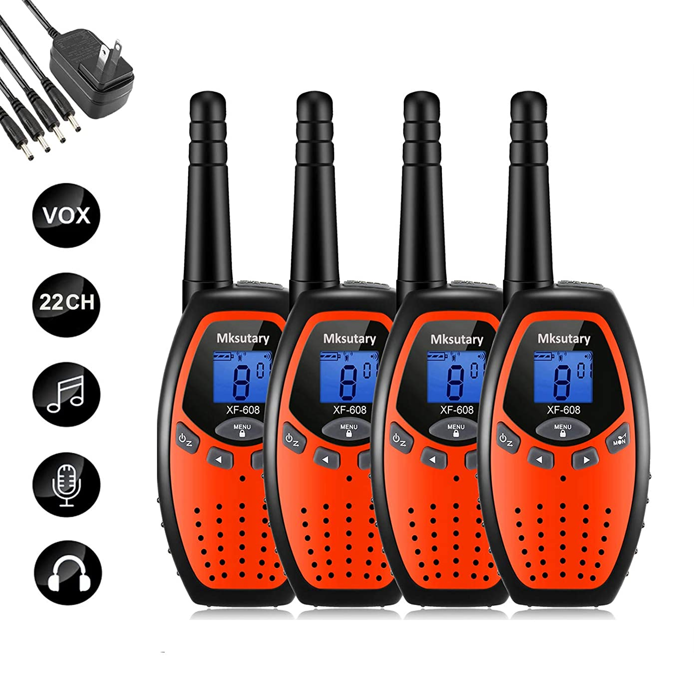Walkie Talkies Rechargeable 4 Pack Walkie Talkie Kids Rechargeable 2 Way Radios Long Range 2 Miles 22 Channels Handheld Transceiver with DC Charger for Kids Adults Cruise Biking Hiking Orange