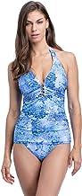 Profile by Gottex Women's Halter V-Neck Tankini Top Swimsuit, Taj Mahal Multi Blue, 16