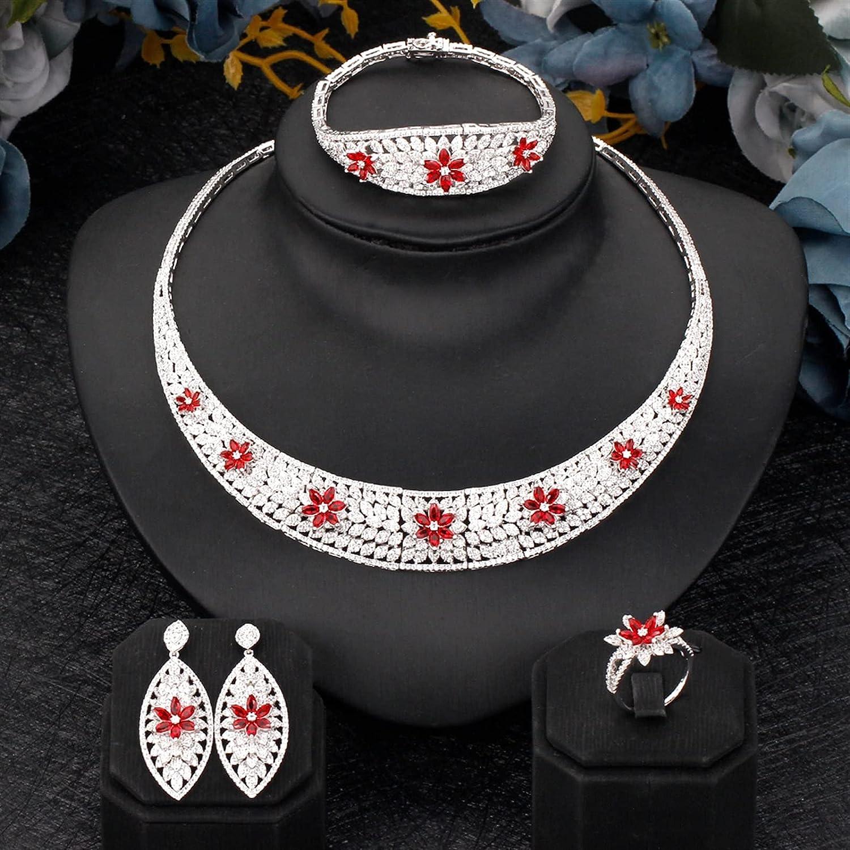 1 year warranty SYXMSM Jewellery Set Women Jewelry Cheap mail order sales Zirconia Red Stone Cubic