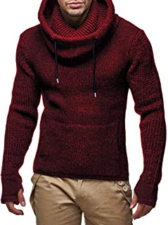 IFOUNDYOU Men Top Mens Long Slim High Collar Pullover Sweater Knitted Jumper Tops Loose Casual Warm Fashion Sweatshirt Sol...