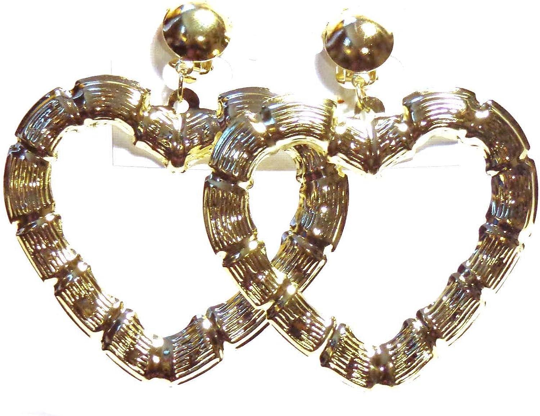 Clip-on Earrings Bamboo Heart Earrings Gold Tone Clip Earrings
