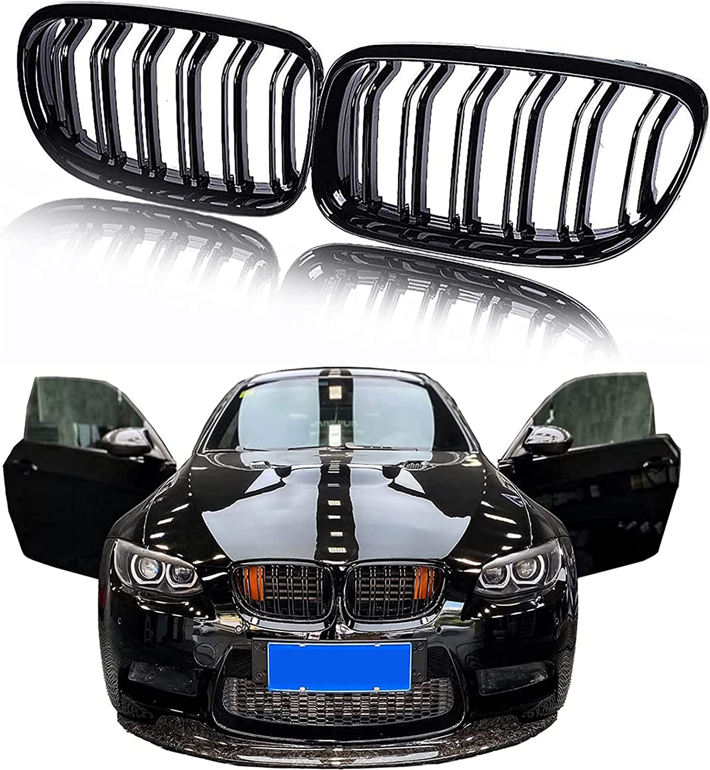 N Cheap SALE Start B 2 pcs Glossy Black Compatible Front Overseas parallel import regular item Grille Kidney wit Hood