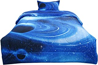 uxcell Twin Size Galaxies White Blue Comforter Sets - 3D Space Themed - All-Season Down Alternative Quilted Duvet - Reversible Design- Includes 1 Comforter and 1 Pillow Case