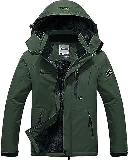 Men's Waterproof Windproof Rain Snow Jacket Hooded Fleece Ski Coat
